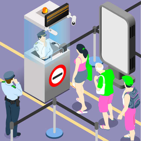 airport security: People Queue Airport Passenger Security Passport Control. Flat 3D Isometric Infographic Web Concept Vector. Duty Gate Control Checkin