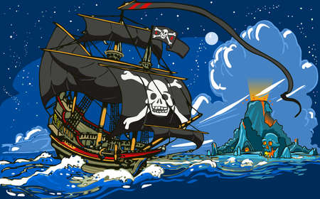 時間の冒険海賊髑髏島に航海船  イラスト・ベクター素材