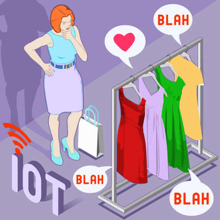 clothes: Beacon and Brand Emotional Awareness. Flat 3D Isometric Wearable Technology Fashion Internet of Things concept vector. Talking Clothes Broadcast About Shoppers Clothing. Big Data Usage