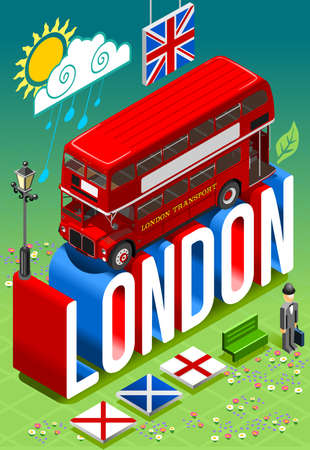 double decker bus: London England Postcard Isometric 3D Concept Vector Background. Red Double Decker Bus Inglese Gentleman with Bowler Hat. Flat Trendy Illustration