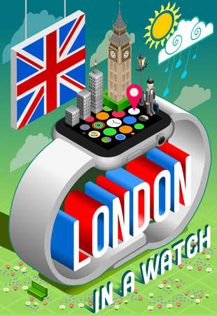 bowler hat: London England in a Watch Concept 3D Isometric Vector Image. Big Ben Building Inglese Gentleman with bowler hat. Flat Trendy iilustration