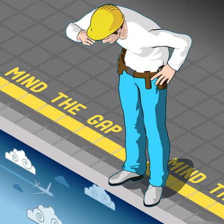 Isometrische Infographic Mind the Gap Concept. Beroeps- en economische onzekerheid 3D Vector illustratie