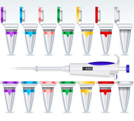 eppendorf: Laboratory Equipment Eppendorf Micro Test Tube Opened and Closed Multicolor Set and micropipettes 2d Illustration Vector Icon Set Illustration
