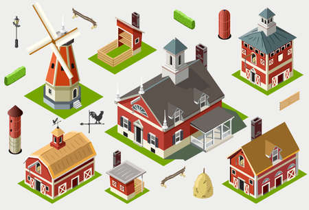 Isometric Old Barn Wood Set Tiles  Views of American Liberty Building Ilustrace