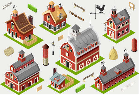 historic building: Isometric Historic Barn Set Tiles  Axonometric Views of American Liberty Building