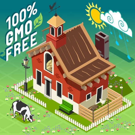 hard rain: Isometric High Quality Farming GMO Free. American Traditional Old Barn 3d Infographic Icon Vector Set. Rural Farm with Chicken and Cow.