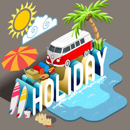 tourism: Summertime Vacation Alternatives. Holiday Postcard Collection. Flat 3D Isometric Infographic Vector Web Template. Summertime Concept Hippie Van Beach Umbrella Surfboard and Palms. Tourism Industry Illustration