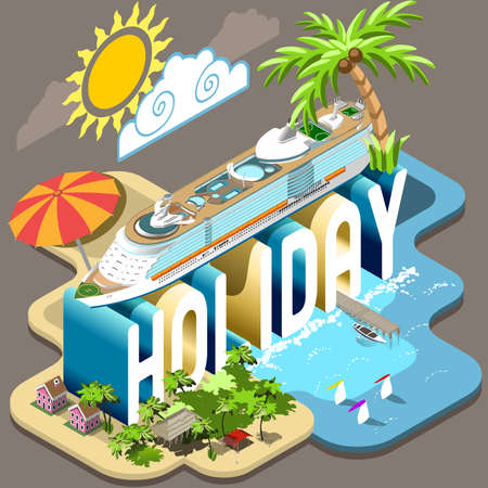 tourism industry: Summertime Cruise Vacation. Holiday Postcard Collection. Flat 3D Isometric Infographic Vector Web Template. Transatlantic Ship Beach Umbrella and Palms Resort Pier. Tourism industry Illustration