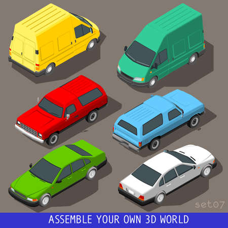 Flat 3D isometric High Quality Vehicle Tiles Icon Collection. Car Pickup Van Delivery Van Panel Truck. Assemble Your Own 3D World Web Infographic September Illustration