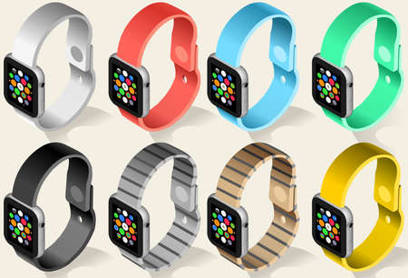 smartly: Smart Watch Six Colors 3D Isometric High Quality Icon http: it.123rf.comuploadmanageimage.phpsubtypeillus. Isolated on White Background With Subjects Operating Display Icons. Vector Illustration