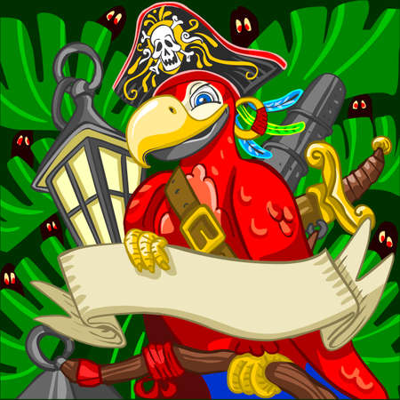 Game Tale Filibuster Pirate Corsair Boatswain Aggressive Armed Parrot with Saber Cannon Lanter  and Old Parchment Illustration