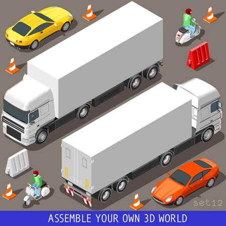 Flache 3D isometrische Qualitäts-Träger-Fliesen Icon Collection. LKW Lastzug Coupe Auto und Motorroller mit Delivery Man. Bauen Sie Ihre eigene 3D-Welt Web Infografik September