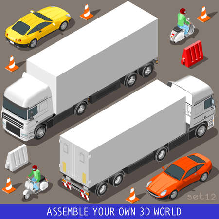 Flat 3D Isometric High Quality Vehicle Tiles Icon Collection. Truck Articulated Lorry Coupe Car and Motor Scooter with Delivery Man. Assemble Your Own 3D World Web Infographic September Çizim