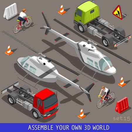 ciclista: Piso isom�trica 3D de alta Calidad del veh�culo Azulejos Colecci�n de iconos. Helic�ptero semirremolque Camiones y un ciclista feliz con la bici de la bicicleta. Arme su propio 3D Mundial web Infograf�a septiembre