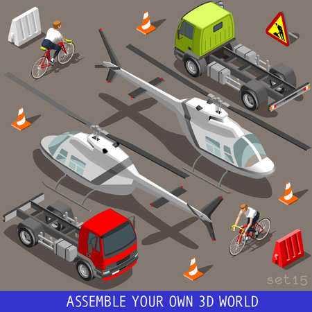 Flat 3D Isometric High Quality Vehicle Tiles Icon Collection. Helicopter Truck semitrailer and an Happy Cyclist with Bike Bicycle. Assemble Your Own 3D World Web Infographic September