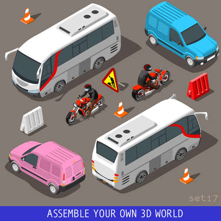 Flat 3D Isometric High Quality Vehicle Tiles Icon Collection. Touris Bus and Coach Van Pink Motorbiker. Assemble Your Own 3D World Web Infographic September Illustration