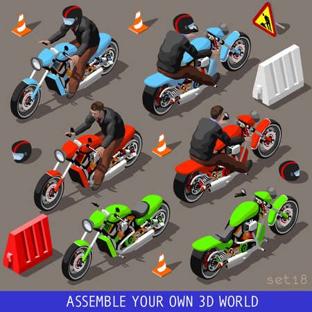 motorcycle wheel: Flat 3D Isometric High Quality Vehicle Tiles Icon Collection. Motorbiker with Motorcycle. Assemble Your Own 3D World Web Infographic September