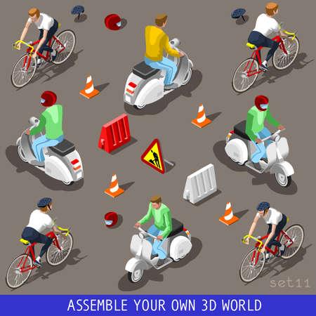 bicyclette: Appartement 3D isom�trique Haute Qualit� v�hicule Tuiles Icon Collection. Scooter avec chauffeur. Assemblez votre propre 3D World Web Infographie Septembre