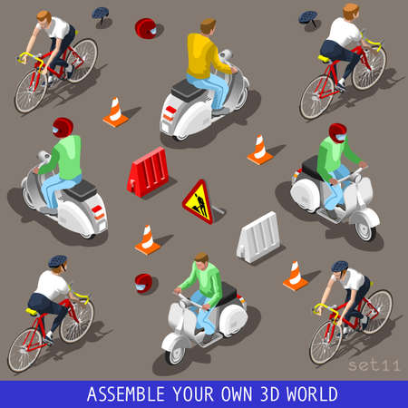 bicycles: Flat 3D Isometric High Quality Vehicle Tiles Icon Collection. Scooter with Driver. Assemble Your Own 3D World Web Infographic September Illustration