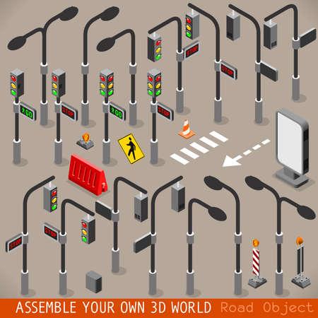Stedelijk Verkeersmanagement 3D Vector Traffic Lights Registreren Zebra Crossing Street Light Placard Signage Isometrische Set Stock Illustratie