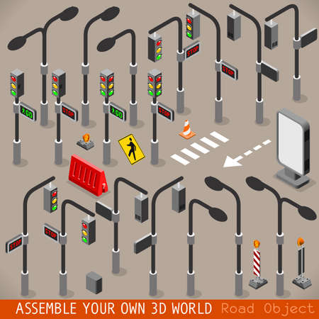 traffic signal: Urbano de gestión del tráfico 3D vector de tráfico Luces Regístrate cebra Farola Cartel Señalización isométrica Set Vectores