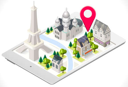 coeur: Paris 3D Map on a Tablet with Tint Isometric Landmark Buildings Sacre Coeur and Eiffel Tower