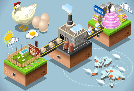 chain food: Liquid Egg Products. Confectionery Industriy Stages. Eggs Processing 3d Web Isometric Infographic Vector Concept. From Factory to Consumer. Production and Supply Chain of the Food Industries. Illustration