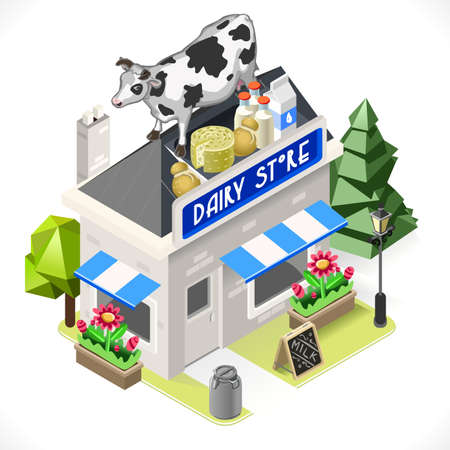 big wheel: Small Dairy Products Shop with Big Cheese Wheel Cow and Milk Bottles as Signboard 3D Isometric Tint Illustration. Illustration