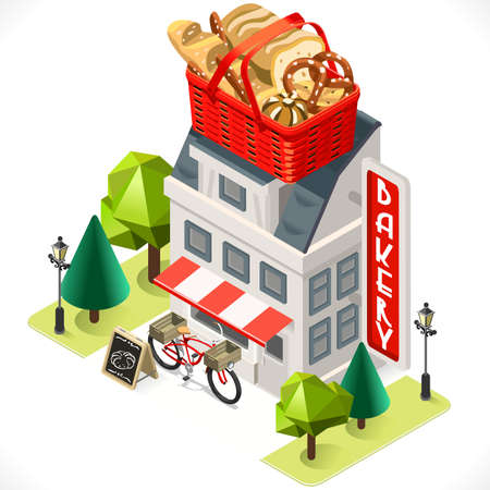 cartoon business: Retro Bakery Building with a Big Bread Basket at the Top. 3D Tile for Your Own Isometric Game App. Tint Vector Isometric Icon.