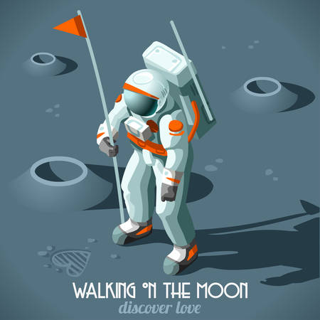 landing: Astronaut Hitchhiker Guide to the Galaxy Vector Illustration. Flat 3d Isometric Cosmonaut with Flag who Discovers the Moon of Love stock vector Illustration