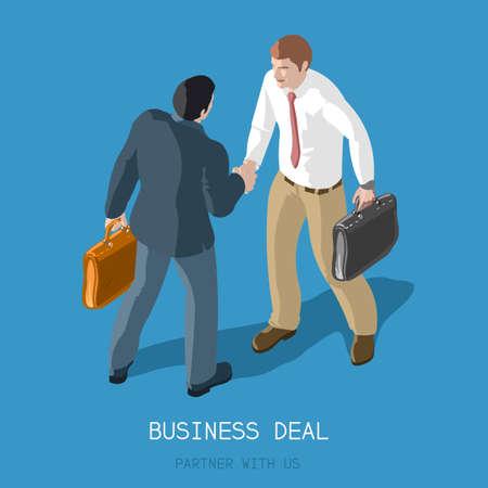 成功するパートナーシップ契約握手。平らな 3 d の等尺性概念 2 人のビジネスマン握手します。正式な契約のインフォ グラフィック。私達のパート