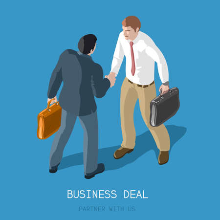 Partnership Deal Handshake to Succeed .Flat 3d Isometric Concept Two Businessmen Shaking Hands .Formal Agreement Infographic .Partner with Us