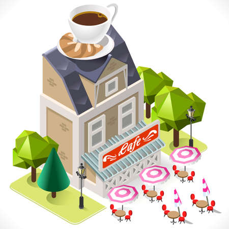 Retro Cafe Building with a Big Coffee Cup at the Top. 3D Tile for Your Own Isometric Game App. Tint Vector Isometric Icon.