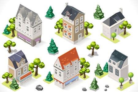 tint: European Historical Buildings Tint 3d Isometric Lowpoly Garden Trees. Build your Own Infographic.