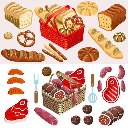 loaf of bread: Fragrant Mixed Types of Freshly Baked Bread near a Flat 3d Isometric Basket of Gorgeous Meat Products. Illustration