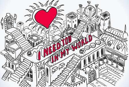 escher: Valentines Card with Heart and I NEED YOU IN MY WORLD phrase. Isometric Fantasy Hand Drawn background