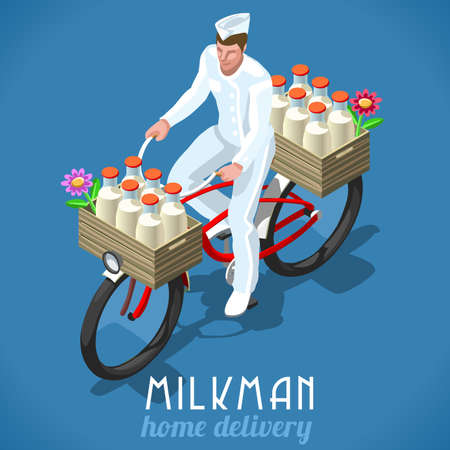 home products: Milkman Bicycle Flat 3d Isometric Fresh Milk Home Delivery Vintage Concept. High Quality Dairy Products Symbol Logo or Advertising