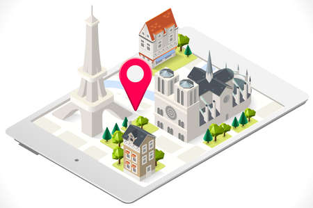notre: Paris 3D Map on a Tablet with Tint Isometric Landmark Buildings Notre Dame and Eiffel Tower