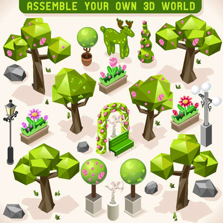 hedge trees: Park Set 3D Lowpoly Isometric Trees Garden Decoration Flower Ornament. Build your Own Infographic. Illustration