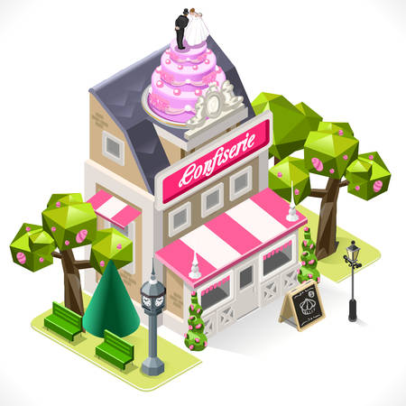 bakery store: Small Pastry Shop 3D Isometric Tint Illustration Bakery with Big Wedding Cake at the top. Illustration