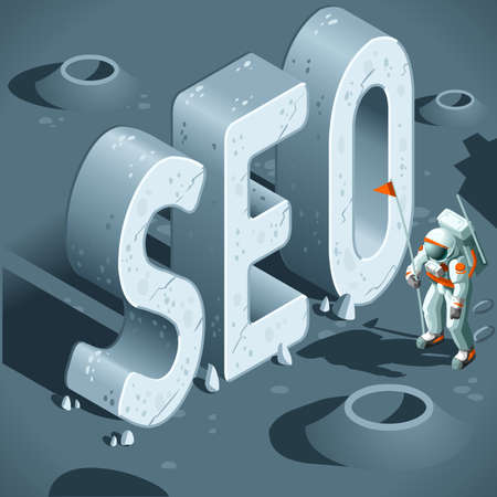 keywording: SEO Discovery like the First Moon Landing. 3D Flat Isometric Vector Concept.