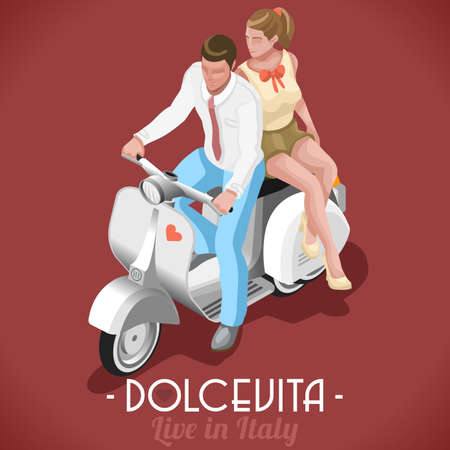 holiday movies: Dolce Vita Flat 3d Isometric Couple Marcello and Audrey on their Vintage Scooter Sweet Roman Holiday in Italy
