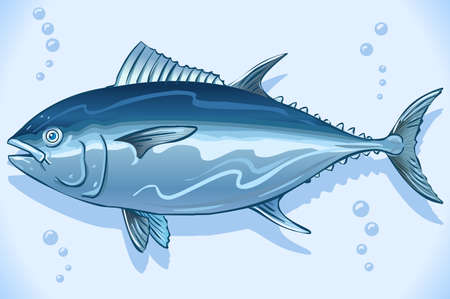 Tuna watercolor hand drawn Underwater world background Vector