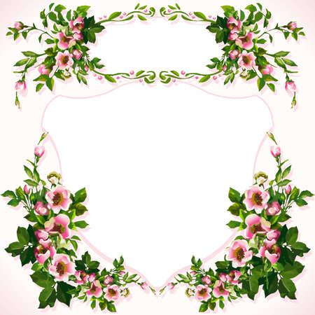 fleurs des champs: Les roses sauvages Bouquet de fleurs sauvages étiquette vectorielle aquarelle pochoir fond