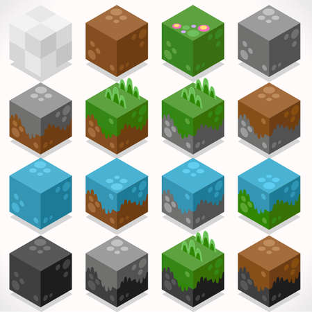 mine: 3D Flat Isometric Cubes Starter Kit Ground Water Iron Coal Grass Elements Icon Mega Set Collection for Builder Craft. Build Your Own World.