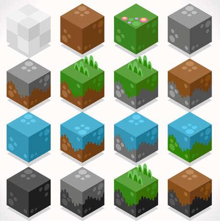 carbone: 3D isometrico piatto cubi Starter Kit Terra Acqua Ferro Carbone Erba Elements Icon Set Collection Mega per il mestiere Builder. Build Your Own mondo.