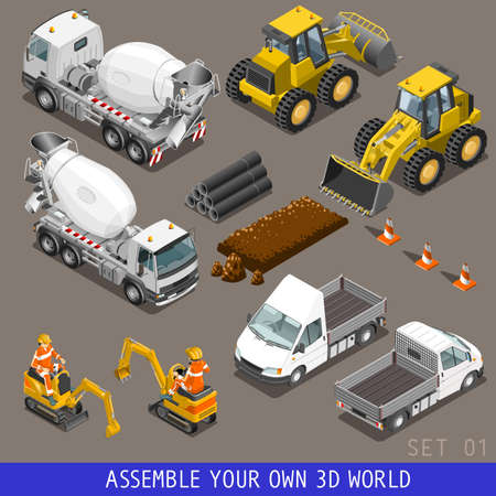 excavator: City construction transport icon set. Flat 3d isometric. Excavator crane grader concrete cement mixer scraper truck loader tow wrecker truck. Assemble your own 3D world web infographic collection.