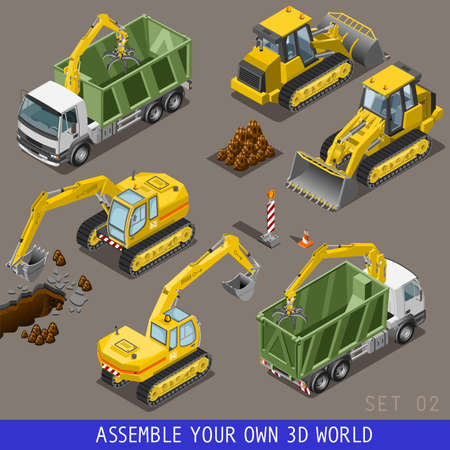 truck road: City construction transport icon set. Flat 3d isometric. Excavator crane grader concrete scraper truck loader tow wrecker truck. Assemble your own 3D world web infographic collection. Stock Photo