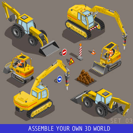 tow truck: City construction transport icon set. Flat 3d isometric. Excavator crane grader concrete scraper truck loader tow wrecker truck. Assemble your own 3D world web infographic collection. Stock Photo
