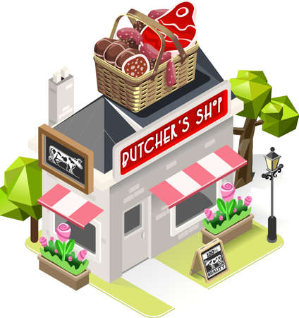 game meat: Retro Butcher Shop Building with a Big Basket with Meat Products at the Top. 3D Tile for Your Own Isometric Game App. Tint Vector Isometric Icon.
